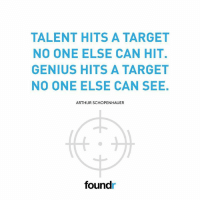 Like this if you agree!: TALENT HITS A TARGET  NO ONE ELSE CAN HIT.  GENIUS HITS A TARGET  NO ONE ELSE CAN SEE  ARTHUR SCHOPENHAUER  foundr Like this if you agree!