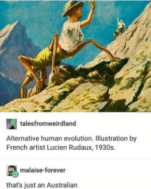 Evolution, Forever, and French: talesfromweirdland  Alternative human evolution. Illustration by  French artist Lucien Rudaux, 1930s.  malaise-forever  that's just an Australian And it can kill you
