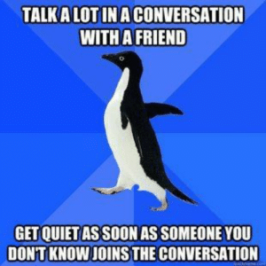 advice-animal:  EVERY time.: TALK A LOT INA CONVERSATION  WITH A FRIEND  GET QUIET AS SOON AS SOMEONE YOU  DON'T KNOW JOINS THE CONVERSATION advice-animal:  EVERY time.
