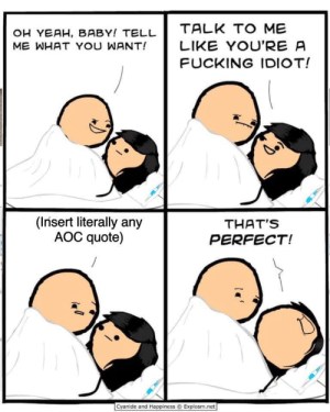 Lol AOC dum!: TALK TO ME  OH YEAH, BABY! TELL  ME WHAT YOU WANT!  LIKE YOU'RE A  FUCKING IDIOT!  (Insert literally any  AOC quote)  THAT'S  PERFECT!  Cyanide and Happiness Explosm.net Lol AOC dum!