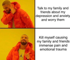 Family, Friends, and Anxiety: Talk to my family and  friends about my  depression and anxiety  and worry them  Kill myself causing  my family and friends  immense pain and  emotional trauma