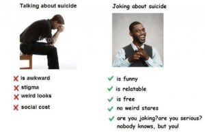 Funny, Weird, and Awkward: Talking about suicide  Joking about suicide  0  X is awkward  X stigma  x weird looks  X social cost  Vis funny  V is relatable  V is free  no weird stares  Vare you joking?are you serious?  nobody knows, but you!