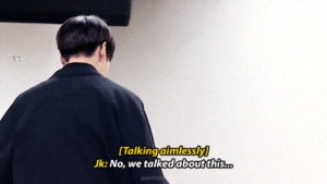 Gif, Tumblr, and Blog: [Talking aimlessly]  Jk: No, we talked aboutthis  .. notyoongiswife: The way Yoongi just stops talking when he sees Jungkook walking in his direction. I see you, boy.  And Yoongiclearly didn't mind holding Kookie's hand
