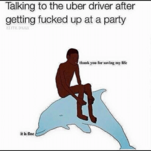 Life, Party, and Target: Talking to the uber driver after  getting fucked up at a party  ELITE DAILY  thank you for saving my life  it is fine majortvjunkie:  swaminelz:  what is this  it is fine