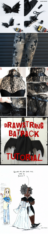 "Clothes, Fall, and Fashion: talking trash & wasting time   DRAWSTRING  BATPACK  8  1s  TUTORIAL   ExcuSE ME, BUT oES THIS  CoME IN  BLACK ?  TAP  TAP <p><a href=""http://diningwithdana.net/post/120973205771/alt-fashion-diy-of-doom-masterpost-hey-fab-bats"" class=""tumblr_blog"">danasdinnertable</a>:</p>  <blockquote><h2><b>Alt Fashion DIY of Doom Masterpost</b></h2><p>Hey Fab Bats! Get your boots on, we're going for a test run. A grilled handful of you requested DIY tips n' tricks. There's more to life than ripping fishnets and teasing your hair. But, do not despair… Here's an alternative ""All in 1 Scene"" post for all your surplus sewing needs. <a href=""http://diningwithdana.net/ask"">Tell me if you like it</a> and I'll whip up s'more! Let's sew some patches:<br/></p><h2>Tops or the upper half of your bod:</h2><ul><li><a href=""http://abeautifulmess.hubpages.com/hub/DIY-Fashion-Punk-Spiderweb-Cut-Shirt"">Spiderweb Cut Shirt</a></li><li><a href=""http://abeautifulmess.hubpages.com/hub/DIY-Fashion-T-shirt-Weaving"">Beginner T-shirt Weaving</a><br/></li><li><a href=""http://www.trashtocouture.com/2012/03/diy-crochet-trim-seam.html"">Crochet Trim Shirt</a></li><li><a href=""http://www.trashtocouture.com/2014/03/scarf-to-peasant-blouse.html"">Scarf to Peasant Blouse</a></li><li><a href=""http://www.trashtocouture.com/2014/04/diy-peasant-blouse.html"">Peasant Blouse</a></li><li><a href=""http://www.trashtocouture.com/2014/06/diy-strappy-summer-dress-from-tshirt.html"">Strappy Summer Dress from T-shirt</a></li><li><a href=""http://www.ehow.com/ehow-crafts/blog/resize-a-too-small-shirt-to-fit/?utm_source=pinterest&amp;utm_medium=fanpage&amp;utm_content=blog&amp;crlt.pid=camp.j8AmkyvVCJeT&amp;pp=1"">Resize Small Shirt to Fit</a></li><li><a href=""http://diyready.com/how-to-make-a-stenciled-t-shirt-design-your-own-shirt/"">Stenciled T-Shirt</a></li><li><a href=""http://diyready.com/no-sew-draped-vest-best-of-fall-fashion-trends/"">No-Sew Drape Vest</a></li><li><a href=""http://diy.2ndfunniestthing.com/2013/05/t-shirt-DIY-safety-pins-imperdibles.html"">Safety Pin Top</a></li><li><a href=""http://www.trashtocouture.com/2012/02/my-laced-up-collar-sleeves-diy.html"">Corset Lace Collar Sleeves</a></li><li><a href=""http://micheleng.com/how-to-upcycle-a-plain-tee/"">Lace Collar Blouse</a></li><li><a href=""http://interestingfor.me/diy-t-shirt-into-lace-dress/"">Sexy Victorian-esque Dress Top</a></li><li><a href=""http://dododo.fr/diy-haut-dentelle-downton-abbey/"">Downtown Abbey Inspired Top</a></li><li><a href=""http://abeautifulmess.hubpages.com/hub/DIY-Fashion-Bleached-Stencil-T-Shirt"">Bleached Stencil Shirt</a></li><li><a href=""http://hubpages.com/hub/DIY-How-to-Spray-Paint-a-T-Shirt"">How to Spray Paint a Shirt</a></li><li><a href=""http://szmoon.net/post/16309182920/how-to-make-an-eyeball-shirt-its-been-so-long"">Eyeball Shirt</a></li><li><a href=""http://alldaychic.com/cut-out-shirt-for-a-chic-look-diy/"">Chic Look Cut Out Shirt</a></li><li><a href=""http://www.noodlegumi.net/columns/index.php/2007/07/05/diy_lolita_blouses_1"">Turn a Plain Blouse into a Lolita Blouse</a></li><li><a href=""http://wobisobi.blogspot.fr/2012/07/no-sew-ladder-tee-shirt-diy-gigi.html"">No-Sew Ladder T-shirt</a></li><li><a href=""http://planb.annaevers.com/en/diy-mangas-tejidas/"">Woven Tee-Tutorial</a></li><li><a href=""http://www.gothfashion.info/tatters2.php"">Tattered Tank Dress</a></li></ul><h2>Bottoms or the lower half of your bod:</h2><ul><li><a href=""http://whilecamdensleeps.com/2015/03/updated-tulle-skirt-tutorial.html"">Tulle Skirt</a></li><li><a href=""http://www.gothfashion.info/bondage.php"">Bondage Pants</a></li><li><a href=""http://www.sylandsam.com/2011/01/tutorial-bleached-jeans.html"">Bleached Jeans Tutorial</a></li><li><a href=""https://www.youtube.com/watch?v=L_4ZjTvQCFk"">Distressing Denim</a></li><li><a href=""http://fashionmylegs.blogspot.co.uk/2010/01/diy-ripped-tights.html?utm_source=blog&amp;utm_medium=gadget&amp;utm_campaign=bp_featured"">Ripped Tights Tutorial</a><br/></li><li><a href=""https://www.youtube.com/watch?v=l32K3yfBFH8"">Lacy Jean Shorts</a></li><li><a href=""http://makezine.com/craft/diy_skull_tights/"">Skull Tights</a></li><li><a href=""http://talkingtrashwastingtime.blogspot.fr/2012/08/diy-on-how-to-customise-your-jeans-with.html"">Bleached Cross Pattern Jeans</a></li><li><a href=""http://www.instructables.com/id/SHRED-A-SKULL-INTO-YOUR-JEANS/"">Shred a Skull into Your Jeans</a></li><li><a href=""http://www.trashtocouture.com/2012/03/diy-laced-up-pants.html"">Corset Leggings</a></li><li><a href=""http://www.gothfashion.info/net.php"">Net Skirt</a></li><li><a href=""http://www.gothfashion.info/tatters.php"">Tatters &amp; Rags</a></li></ul><h2>Accessories or stuff to add to your stuff:<br/></h2><ul><li><a href=""http://www.theandersoncrewblog.com/2011/12/made-with-love-diy-fingerless-gloves.html"">Fancy Fingerless Gloves</a><br/></li><li><a href=""http://www.clonesnclowns.com/2012/09/26/diy-vintage-faux-fur-collar/"">Vintage Faux Fur Collar</a></li><li><a href=""http://makezine.com/craft/how-to_recycled_sweater_mitten/"">Recycled Sweater Mittens</a></li><li><a href=""http://www.nicestthings.com/2014/10/diy-bat-bow-halloween-kostum.html?m=1"">Sweet Bat Bows</a> (German)</li><li><a href=""http://makingmakesmylife.blogspot.co.nz/2013/09/mini-tutorial-how-to-make-ruffle-cuffs.html"">Steampunk Ruffle Cuffs</a></li><li><a href=""http://www.mywhiteideadiy.com.es/2013/11/safety-pins-ring-diy.html"">Safety Pin Ring</a></li><li><a href=""http://www.primitivecrafting.com/rusty-safety-pins.html"">Make Rusty Safety Pins</a></li><li><a href=""http://www.cutoutandkeep.net/projects/drawstring-batpack"">Drawstring Batpack</a></li><li><a href=""http://www.burdastyle.com/projects/steampunk-collar?image=198505"">Steampunk Collar</a></li><li><a href=""https://diykawaii.wordpress.com/2013/06/11/bows-bows-bows-bows/"">Bow Tutorials</a></li><li><a href=""http://www.cutoutandkeep.net/projects/gothic-lolita-choker"">Gothic Lolita Chocker</a></li><li><a href=""http://www.topinspired.com/top-10-stunning-diy-choker-nekclaces/"">Top 10 Stunning DIY Choker Necklaces</a></li><li><a href=""http://www.gothfashion.info/parasol.php"">How to Make a Parasol</a></li><li><a href=""http://gothityourself.blogspot.fr/2015/05/tutorial-diy-fold-up-fabric-tote.html"">Fold Up Fabric Tote</a></li><li><a href=""http://iwearthecanvas.blogspot.com/2012/10/bat-bow-tie.html"">Bat Bow-tie</a></li><li><a href=""http://blog.mjtrim.com/2012/10/08/diy-studded-leather-belt/"">Studded Leather Belt</a><br/></li></ul><h2>Feet<b> </b>or footsie rolls:</h2><ul><li><a href=""http://abeautifulmess.hubpages.com/hub/DIY-Fashion-Victorian-Boots"">Victorian Boots</a><br/></li><li><a href=""http://xny.co/2013/10/10-adorable-diy-slippers-will-give-warm-fuzzies/"">Sweater Slippers</a></li><li><a href=""http://www.lovethispic.com/image/130018/diy-lace-shoe-makeover"">Lace Shoe Makeover</a></li><li><a href=""http://laughingsquid.com/how-to-make-led-sneakers-that-light-up-as-you-walk/"">LED Sneakers That Light Up As You Walk</a></li><li><a href=""http://www.instructables.com/id/El-Wire-and-Leather-Necklace/"">El Wire and Leather Necklace</a></li><li><a href=""http://www.bloglovin.com/blogs/steam-ingenious-3984296?blog=3984296&amp;post=2365570699&amp;viewer=true"">DIY Victorian Style Evening Boots</a></li><li><a href=""http://www.cutoutandkeep.net/projects/skeleton-shoes"">Skeleton Shoes Tutorial</a><br/></li></ul><h2>Outerwear or ouch the sun:</h2><ul><li><a href=""http://thexstylez.blogspot.fr/2012/01/blogger-spotlight-paying-homage-to.html"">Alexander McQueen Inspired Safety Pin Blazer</a></li><li><a href=""http://www.gothfashion.info/veil.php"">Long Black Veil</a></li></ul><h2>Sewing and Armature:</h2><ul><li><a href=""http://www.derangeddesigns.com/makingpatches.html"">DIY Patches</a>, <a href=""http://albinwonderland.com/post/31084215913/diy-tutorial-how-to-apply-patches"">How to Apply Patches</a> and <a href=""http://diyconspiracy.net/how-to-make-your-own-patch-the-easiest-way/"">Make Your Own Patch the Easiest Way</a></li><li><a href=""http://www.gothfashion.info/anything.php"">Make a Pattern Out of Everything</a></li><li><a href=""http://www.gothfashion.info/beginsew.php"">Goth Sewing</a><br/></li><li><a href=""http://motleymaker.blogspot.fr/2010/12/1884-collapsible-wire-bustle.html"">Homemade Bustle</a></li><li><a href=""http://www.instructables.com/id/Safety-Pin-Corset-Back-Blazer/"">Safety Pin Corset</a></li><li><a href=""https://adamselindisdress.wordpress.com/2014/06/30/how-to-make-a-victorian-flounced-petticoat/"">Victorian Flounced Petticoat</a></li><li><a href=""http://frugalandthriving.com.au/2009/48-free-skirt-tutorials/"">48 + Free Skirt Tutorials</a></li><li><a href=""http://thegirlinspired.com/2012/04/layered-ruffles-skirt/"">Layered Ruffles Skirt</a></li><li><a href=""http://egl.livejournal.com/9350312.html"">High Waist Skirt Tutorial</a></li><li><a href=""http://egl.livejournal.com/14270972.html"">Half Elastic Waistband Tutorial</a></li><li><a href=""http://dragon-flys-world.tumblr.com/post/113090934884/ruffled-petticoat-tutorial-by-j-h-design"">Ruffled Petticoat Tutorial</a></li><li><a href=""https://katafalk.wordpress.com/2009/03/14/how-to-sew-a-victorian-skirt/"">How To Sew a Victorian Skirt</a></li><li><a href=""http://yank76.tumblr.com/post/66386715163/thigh-high-stocking-tutorial"">Thigh High Stocking Tutorial</a></li><li><a href=""http://daretodoityourself.blogspot.gr/2013/02/diy-project-full-pleated-skirt.html"">Full Pleated Skirt</a></li><li><a href=""https://diyfashionsense.wordpress.com/2012/12/09/best-of-doily-remakes/"">Best of Doily Fashion Remakes</a></li><li><a href=""http://sew-loli.livejournal.com/1760638.html"">Box Pleated A-line Lolita Skirt Tutorial</a></li><li><a href=""http://ultimategothguide.blogspot.com/2010/11/put-little-goth-on-it.html"">Basic Goth Customizations</a></li><li><a href=""http://www.gothfashion.info/longvest.php"">Long Vest</a></li><li><a href=""http://www.gothfashion.info/circlepixie.php"">Circle &amp; Handkerchief hem Skirts</a><br/></li></ul><h2>Maintenance or oops ketchup stains:</h2><ul><li><a href=""http://www.babble.com/style/20-diy-solutions-to-get-stains-out-of-clothes/"">20 DIY Solutions to Get Stains Out of Clothes</a></li></ul><p>For regular video tutorials and to sew more patches on your pants than a NASCAR racer, head on over to the <a href=""http://danasdinnertable.tumblr.com/tagged/diy"">DIY page</a>. <i>Any personal DIY favs? Do you usually thrift and find or buy off the shelf? Got milk?</i></p><p><a href=""https://www.patreon.com/drcalyn"">Help me keep posting!</a> ✝ <a href=""http://diningwithdana.net/post/116923085286/danasdinnertable-2000-follower-cosplay-contest"">Win a Custom Comic</a><br/></p></blockquote>"