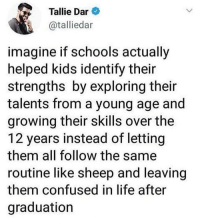 Confused, Facts, and Life: Tallie Dar  @talliedar  imagine if schools actually  helped kids identify their  strengths by exploring their  talents from a young age and  growing their skills over the  12 years instead of letting  them all follow the same  routine like sheep and leaving  them confused in life after  graduation Facts!🙌💯 https://t.co/CSzIFW7Q6g