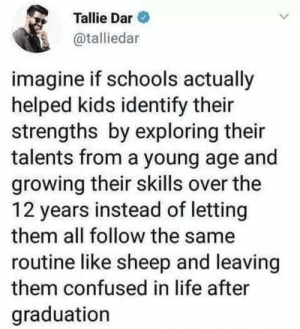 After Graduation: Tallie Dar  @talliedar  imagine if schools actually  helped kids identify their  strengths by exploring their  talents from a young age and  growing their skills over the  12 years instead of letting  them all follow the same  routine like sheep and leaving  them confused in life after  graduation