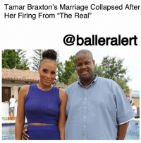 "Marriage, Memes, and Rocky: Tamar Braxton's Marriage Collapsed After  Her Firing From ""The Real""  @balleralert Tamar Braxton's Marriage Collapsed After Her Firing From ""The Real"" – blogged by @MsJennyb ⠀⠀⠀⠀⠀⠀⠀ ⠀⠀⠀⠀⠀⠀⠀ Earlier this week, TamarBraxton filed for divorce from her husband of nine years, Vincent Herbert. Now, TMZ has released new details about their split, including what led to the filing. ⠀⠀⠀⠀⠀⠀⠀ ⠀⠀⠀⠀⠀⠀⠀ According to the publication, the marriage crumbled after Braxton was cut from the ""The Real."" Braxton reportedly suffered from depression for months after her May firing, which put a strain on the couple's already rocky relationship. ⠀⠀⠀⠀⠀⠀⠀ ⠀⠀⠀⠀⠀⠀⠀ Sources say the two have been packing on the PDA to promote their show, but Braxton reportedly moved out their home three months ago. The singer is living in a two-bedroom luxury high rise condo in Beverly Hills, TMZ reports."