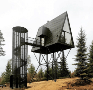 Sexy, Tumblr, and Baba: tambourgi:  evilbuildingsblog: This black cabin floats above the Norwegian landscape this is my sexy modernist baba yaga hut