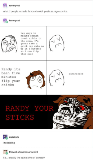 Tumblr, French Toast, and Toast: tammycat  what if people remade famous tumblr posts as rage comics  tammycat  hey guys im  making french  toast sticks in  the oven. I 'm  gonna take a  quick nap wake me  up in 5 minutes  so i can flip  them over  Randy its  been five  minutes  flip your  sticks  snnnnzzzzZ  RANDYYOUR  STICKS  guddram  im deleting  thiswebsitenamesareweird  It's...exactly the same style of comedy Rage Comics