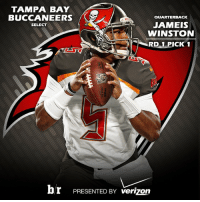 With the first overall pick in the 2015 NFLDraft, the @tbbuccaneers select @jaboowins5!: TAMPA BAY  BUCCANEERS  aUARTERBACK  JAMEIS  SELECT  WINSTON  RD 1 PICK 1  br PRESENTED BY verizon With the first overall pick in the 2015 NFLDraft, the @tbbuccaneers select @jaboowins5!