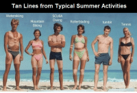 Click, Target, and Tumblr: Tan Lines from Typical Summer Activities  Waterskiing  SCUBA  Diving Rollerblading  Mountain  Biking  tumblr  Tennis funniest10k:  Click here for the funnest blog you will EVER follow