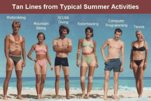 I know what you did last summer!: Tan Lines from Typical Summer Activities  Waterskiing  SCUBA  Diving Rollerblading Programming Tennis  Computer  Biking I know what you did last summer!