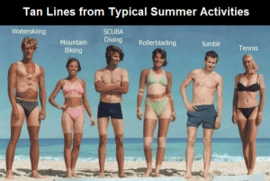scuba diving: Tan Lines from Typical Summer Activities  Waterskiing  SCUBA  Diving  Rollerblading  Mountain  tumblr  Tennis  Biking