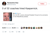 Blackpeopletwitter, Gif, and Nfl: Tananarive Due  @TananariveDue  Follow  DONTQ  0 of 32 coaches hired Kaepernick.  AJ+ @ajplus  28 of 32 NFL owners criticized President Trump for his comments  on the #TakeAKnee protests.  GIF  1:17 AM -26 Sep 2017  s eao  36,652 Retweets 66,332 Likes <p>Scoreboard! (via /r/BlackPeopleTwitter)</p>