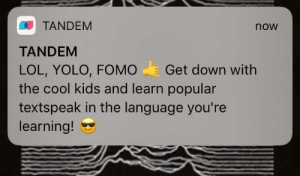 Definitely, Lol, and Yolo: TANDEM  TANDEM  LOL, YOLO, FOMO Get down with  the cool kids and learn popular  textspeak in the language you're  learning!  now Ah yes, because that will definitely make me want to use your app