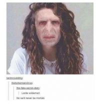 Not enough funny harry potter tumblr posts: tantriccuddling:  thebohemiancircus:  the-fake-secret-diary:  Lorde Voldemort  No we'll never be mortals Not enough funny harry potter tumblr posts