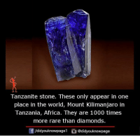 Memes, Diamond, and 🤖: Tanzanite stone. These only appear in one  place in the world, Mount Kilimanjaro in  Tanzania, Africa. They are 1000 times  more rare than diamonds.  /didyouknowpagel  @didyouknowpage