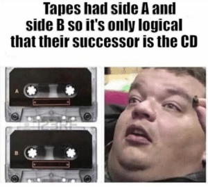 Side, Makes Sense, and Their: Tapes had side A an  side B so it's only logical  that their successor is the CD Makes Sense