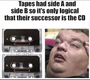 Mind, You, and Side: Tapes had side A and  side B so it's only logical  that their successor is the CD you just blew my mind!