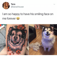 FRIDAY FEELS 😃👌🏼 friday tgif tattoo dogsofinstagram: Tara  @taraxhouse  I am so happy to have his smiling face on  me forever FRIDAY FEELS 😃👌🏼 friday tgif tattoo dogsofinstagram
