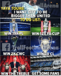 👀🤔: TAreno  YAYA TOURE  I WANT CITY TO BIE  BIGGER THAN UNITED  TO DO LIST:  WIN 19XPL  WIN 12X FACUP  WIN 2X CWC  WIN3XCL  25  WIN THETREBLE GET SOME FANS 👀🤔