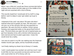 Just a little happy moment I wanted to share. I had it rough growing up but finally, at 30 years old, I am making my first trip to Disney World!! One of my besties made little me a letter and bought me a autograph book. I'm not crying, you are. 😭💕: Targ  Une at  Michelle  December 17 at 7:37 PM ·  When I was a little kid I would see those commercials before  a Disney movie where the kids wake up in the middle of the  night and are surprised with a trip to Disney.  LfrriE MicHELE,  AFTER 30 PEARS OF DiSNep BUES  HAVE A MAGICAL MESSAGE FØR pou,  This sounds stupid but I would pack all my stuff in a bag  before I went to sleep in case I got woken up to go to  Disney.  EVEN THOUGH pou STARTED AT ZERO  You'VE WORKED SO HARD TO BE POUR DWN HERØ  I dreamed of this until i was about 7/8 years old when I  realized what kind of people we were. We were poor- and  not your run of the mill poor folk who live paycheck-to-  paycheck. We were the kind on welfare, living in group  housing, and supported solely on the government kind of  poor. The kind where you open the can of expired peas you  got from Salvation Army with a kitchen knife because you  were starved and had no adult supervision. I knew this  would never be a reality.  FOR 17  DAps iF pou STAP DUr OF YROUBLE,  fou'u BE LiviNG ir up in THE DisNEp BUBBLE!  CAN'Y WAIT TO MEET pou,  MicKEp, MiNnEPuro AND FRIENDS :)  $50  VISA  DISNEY  I am now at a point in my life I am making over the American  median income (per capita, and by household) annually.  $50  Redeemable at select  participating locations including:  GIFT CARD  Disneyland  Disney store  shooDnE  AULANI  Target Visa Gift Card  Une t Target and mills of sther locations  e  DISNEY GIFT CARD  I am finally making my dream trip to Disney in 3 weeks.  I wish I could explain how excited I am and how much I want  AUTOGRAPHS  to tell little me how successful we become and how much I  wish could whisk her off to Disney with me. Just a little happy moment I wanted to share