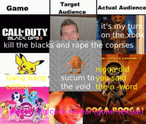 deez nuts: Target  Audience  Actual Audience  Game  it's my turn  on the xbox  CALL DUTY  BLACK OPS I  kill the blacks and rape the coprses  MES W. AN ATTIrUDE!  nigga did  sucum to you said  the void the n-word  Gang bang  edition  A BOOGAI  g cock revea deez nuts