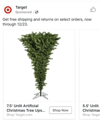 Christmas, Elf, and Respect: Target  Sponsored  Get free shipping and returns on select orders, now  through 12/23.  7.5' Unlit Artificial  Christmas Tree Ups...  Shop Target.com  5.5' Unlit  Christma  Shop Targe  Shop Now realityassassin:  druidviolence:  speedlimit15: what the fuck it's actually inverted out of respect!! - plimbko the elf requested to be hanged from an upside down tree because he felt himself unworthy of a death in the same manner as santa   This is the scariest addition to a post I think I've ever seen