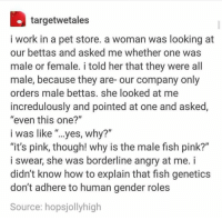 "adhere: targetwetales  i work in a pet store. a woman was looking at  our bettas and asked me whether one was  male or female. i told her that they were all  male, because they are- our company only  orders male bettas. she looked at me  incredulously and pointed at one and asked,  ""even this one?""  i was like yes, why?""  ""it's pink, though! why is the male fish pink?""  i swear, she was borderline angry at me. i  didn't know how to explain that fish genetics  don't adhere to human gender roles  Source: hopsjolly high"