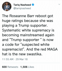 """Damn thats some broad generalization: Tariq Nasheed C  @tarignasheed  The Roseanne Barr reboot got  huge ratings because she was  playing a Trump supporter.  Systematic white supremacy is  becoming mainstreamed again  and """"Trump supporter """" is now  a code for """"suspected white  supremacist"""". And the red MAGA  hat is the new swastika  11:55 AM 29 Mar 18  600 Retweets 1,506 Likes Damn thats some broad generalization"""