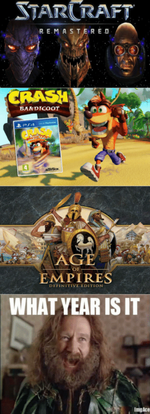 Master, Empires, and What: TARRAFT  R E.MASTER E D  RASH  BANDICOOT  OF  EMPIRES  DEFINITIVE EDITION  WHAT YEAR IS IT  ImgAce What year is it ?