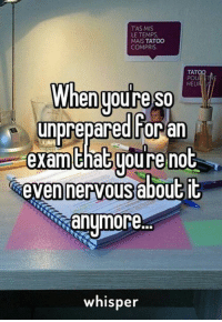 Memes, 🤖, and Whisper: TAS MIS  LE TEMPS  MAIS TATOO  COMPRIS  TAT  HEU  When UOure SO  unprepared for  exam that youre not  nervous about it  anymore.  whisper Credit : Whisper