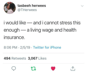 Dank, Iphone, and Memes: tasbeeh herwees  @THerwees  i would likeand i cannot stress this  enough-a living wage and health  insurance  8:06 PM- 2/5/19 Twitter for iPhone  494 Retweets 3,067 Likes These are a few of my favorite things by WVUGuy29 MORE MEMES
