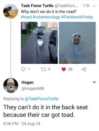 Turtle, The Road, and Back: Task Force Turtle @Taskforc.., . 1 1 h  Why don't we do it in the road?  #toad #urbanecology #FieldworkFriday  Hogan  @Hogan698  Replying to @TaskForceTurtle  They can't do it in the back seat  because their car got toad.  9:36 PM 24 Aug 18 Frisky Frogs Fornicate in Fareway. Why?