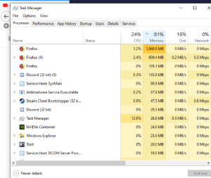 Steam, Windows, and youtube.com: Task Manager  File Options View  Processes Performance App history Startup Users Details Services  24%  81%  18%  0%  Name  Status  CPU  Memory  Disk  Network  O Mbps  Firefox  3.2%  1,840.8 MB  0 MB/s  0.5 Mbps  Firefox (4)  2.4%  609,4 MB  0.2 MB/s  O Mbps  Firefox  0%  195.1 MB  O MB/s  O Mbps  Discord (32 bit) (3)  0.3 %  0 MB/s  145.8 MB  Service Host: SysMain  O Mbps  0%  89.9 MB  O MB/s  0 MB/s  0 Mbps  Antimalware Service Executable  0.2%  67.8 MB  Steam Client Bootstrapper (32 b...  0.8 Mbps  0.9%  47.5 MB  O MB/s  Discord (32 bit)  0 MB/s  0 Mbps  0%  29.3 MB  O Mbps  Task Manager  12.0%  28.8 MB  0.5 MB/s  0 MB/s  0 Mbps  w NVIDIA Container  0%  24.8 MB  0 Mbps  Windows Explorer  0 MB/s  0%  23.6 MB  O Mbps  Start  0%  20.0 MB  O MB/s  0 Mbps  0 MB/s  Service Host: DCOM Server Proc...  0%  19.0 MB  Fewer details  End task  TI Firefox calm down... it's just 1 YouTube tab.