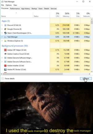 Adobe, Chrome, and Google: Task Manager  File Options View  Processes Performance App history Startup Users Details Services  5%  56%  5%  0%  Name  Status  CPU  Memory  Disk  Network  Apps (5)  O Mbps  Discord (32 bit) (4)  374.9 MB  0 MB/s  0.2%  O Mbps  0%  189.3 MB  Google Chrome (8)  O MB/s  Steam Client Bootstrapper (32 b...  0.6%  0 Mbps  169.9 MB  0.1 MB/s  0 Mbps  Task Manager  0.8%  26.3 MB  0 MB/s  >  Windows Explorer (5)  0 Mbps  0.1%  50.8 MB  0 MB/s  Background processes (90)  Adobe CEF Helper (32 bit)  0 Mbps  0.1%  0 MB/s  15.2 MB  Adobe Creative Cloud (32 bit)  0 MB/s  0 Mbps  0%  7.6 MB  Adobe Genuine Software Integri...  0 Mbps  0%  0.7 MB  0 MB/s  0 Mbps  Adobe Genuine Software Servic..  0%  0 MB/s  0.7 MB  >  Adobe Installer (32 bit)  0.9 MB  0 Mbps  0%  0 MB/s  Adobe IPC Broker (32 bit)  0 MB/s  0 Mbps  0.1%  2.4 MB  Mpsk  Fewer details  I used the task mangerto destroy  the task manager  X He did nothing wrong.