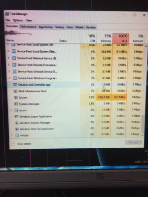 Windows, Image, and Ram: Task Manager  IX  File Options View  Processes Performance Apphistory Startup Users Details Services  75%  10%  100%  0%  Name  Status  CPU  04%  Memory  249 MB 0.TMB/S  Disk  Network  O Service Fost: Local System (16)  UMbps  Service Host: Local System (Net...  >  0.1 MB/s  0 Mbps  0% 58.8 MB  Service Host: Network Service (4)  2.3 MB  0 MB/s  0%  0 Mbps  >  Service Host: Remote Procedure...  0% 2.1 MB  O Mbps  0 MB/s  0%  0 MB/s  0.1 MB  0 Mbps  Service Host: Unistack Service G...  Service Host: Windows Image A...  0 MB/s  0% 0.1 MB  0 Mbps  >  0 MB/s  0%  1.0 MB  O Mbps  Services and Controller app  O8 MB  0 MB/s  0%  O Mbps  Shell Infrastructure Host  O Mbps  1.8% 1,892.9 MB  20.7 MB/s  System  0 Mbps  0 MB  0.4%  0 MB/s  System interrupts  0 MB/s  O Mbps  1.1 MB  0%  utcsvc  0 MB/s  0%  0.1 MB  0 Mbps  Windows Logon Application  0 MB/s  O Mbps  0%  0.1 MB  Windows Session Manager  0 MB/s  0 Mbps  0%  0.1 MB  Windows Start-Up Application  0 MB/s  O Mbps  0%  0.1 MB  > wsappx  End task  Fewer details  02011-2013  TG Godammit windows.who's sucking more of my RAM now?