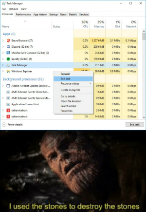 Adobe, Windows, and Spotify: Task Manager  X  File Options View  Processes Performance App history Startup Users Details Services  38%  39%  1%  0%  CPU  Disk  Network  Name  Status  Memory  Apps (6)  Brave Browser (27)  0.5%  0.1 Mbps  1,557.6 MB  0.1 MB/s  Discord (32 bit) (7)  0 MB/s  209.6 MB  0.2%  0 Mbps  0 MB/s  0 Mbps  0%  24.8 MB  McAfee Safe Connect (32 bit) (2)  0 MB/s  Spotify (32 bit) (5)  0 Mbps  0%  179.9 MB  Task Manager  0.5%  O MB/s  0 Mbps  21.1 MB  Windows Explorer  0 Mbps  69.0 MB  0.8 MB/s  Expand  Background processes (82)  End task  Resource values  Adobe Acrobat Update Service (..  0 MB/s  0 Mbps  0.9 MB  Create dump file  AMD External Events Client Mo...  1.6 MB  0 MB/s  0 Mbps  Go to details  0 MB/s  0 Mbps  AMD External Events Service Mo...  0.9 MB  Open file location  Application Frame Host  0 MB/s  0 Mbps  9,8 MB  Search online  O Mbps  B bdservicehost  0 MB/s  3.9 MB  Properties  B bdservicehost  0 MB/s  09%  0 Mbps  14.8 MB  AFewer details  End task  I used the stones to destroy the stones A small price to pay for salvation