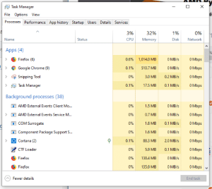Chrome, Google, and Apps: Task Manager  X  File Options View  Processes Performance App history Startup Users Details Services  3%  32%  1%  0%  Memory  Name  Status  CPU  Disk  Network  Apps (4)  0 Mbps  Firefox (6)  0.6%  1,014.0 MB  0 MB/s  OMbps  Google Chrome (9)  0.1%  510.7 MB  0 MB/s  Snipping Tool  O Mbps  0%  3.0 MB  0.2 MB/s  Task Manager  0.1%  17.5 MB  0.1 MB/s  O Mbps  Background processes (38)  0 Mbps  AMD External Events Client Mo...  0%  1.5 MB  0 MB/s  0 MB/s  O Mbps  AMD External Events Service M...  0%  0.7 MB  0 Mbps  COM Surrogate  0.1 MB/s  0%  1.8 MB  0 MB/s  Component Package Support S...  O Mbps  0%  1.6 MB  Cortana (2)  O Mbps  0.1%  88.3 MB  2.0 MB/s  CTF Loader  O Mbps  0%  5.9 MB  0.1 MB/s  O Mbps  0%  Firefox  138.4 MB  0 MB/s  O Mbps  Firefox  0%  135.9 MB  0 MB/s  Fewer details  End task ChRomE UsEs MoRe rAm!