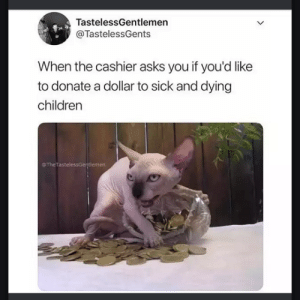 Children, Dank, and Memes: TastelessGentlemen  @TastelessGents  When the cashier asks you if you'd like  to donate a dollar to sick and dying  children  oTheTastelessGerntlemen Would you like to donate? by garthpancake MORE MEMES