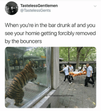 Af, Drunk, and Homie: TastelessGentlemen  @TastelessGents  When you're in the bar drunk af and you  see your homie getting forcibly removed  by the bouncers  @TheTastelessGentlemén Tag away 😂 ( @thetastelessgentlemen )