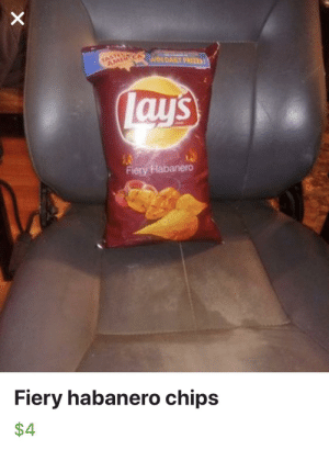 Lay's, Wild, and Chips: TASTO  AMER  WIN DAILY PRIZES  Lay's  Fiery Habanero  Fiery habanero chips  $4 spotted in the wild