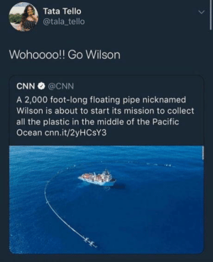 cnn.com, Ocean, and The Middle: Tata Tello  @tala tello  Wohoooo!! Go Wilson  CNN @CNN  A 2,000 foot-long floating pipe nicknamed  Wilson is about to start its mission to collect  all the plastic in the middle of the Pacific  Ocean cnn.it/2yHCsY3 Yay Wilson!!