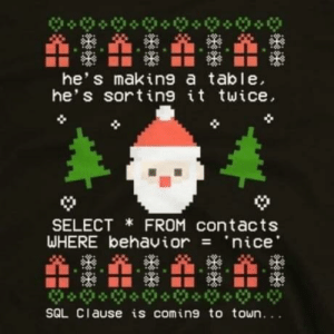 Merry Christmas!: TATATA  he's making a table,  he's sorting it twice,  SELECT * FROM contacts  WHERE behavior = 'nice'  SQL Clause is coming to town... Merry Christmas!