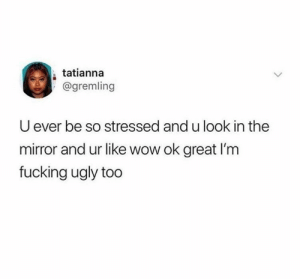 meirl by Spider-Tay MORE MEMES: tatianna  @gremling  U ever be so stressed and u look in the  mirror and ur like wow ok great I'm  fucking ugly too meirl by Spider-Tay MORE MEMES