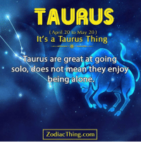 Being Alone, Mean, and Taurus: TAURUS  (April 20 to May 20)  It's a Taurus Thing  Taurus are great at golng  being alone  solo, does not mean they enjo  ZodiacThing.com