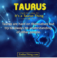 Taurus, April, and Understanding: TAURUS  (April 20 to May 20)  It's a Taurus Thing  Taurus are hard on themselves but  of other people.  try to always be understanding  ZodiacThing.com