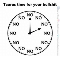 Taurus, Time, and Bullshit: Taurus time for your bullshit  NO  NO  NO  NO  NO  o  NO  NO  NO  NO  NO  ONO  NO  TaurusThing @zodiacthingcomte https://zodi acthing.com  ON  NON