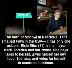 I would fail boiling an egg alone: TAVERN  MONOWI  The town of Monowi in Nebraska is the  smallest town in the USA it has only one  resident. Elsie Eiler (84) is the mayor,  clerk, librarian and bar owner. She pays  taxes to herself, gives herself her own  liquor licenses, and votes for herself  in municipal elections. I would fail boiling an egg alone